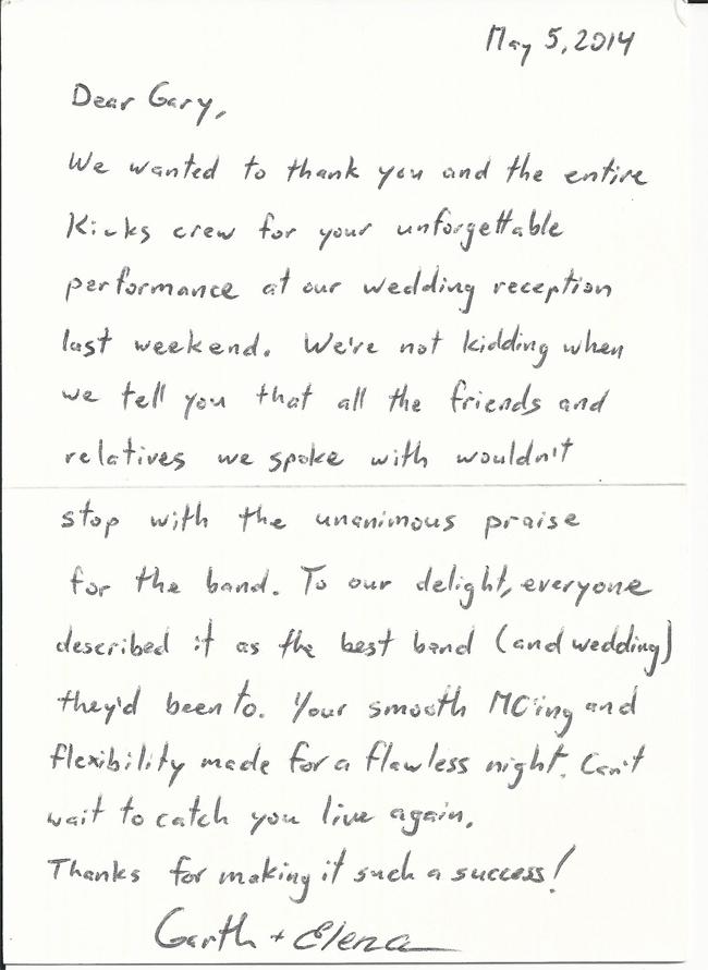 Thank you card Garth & Elena